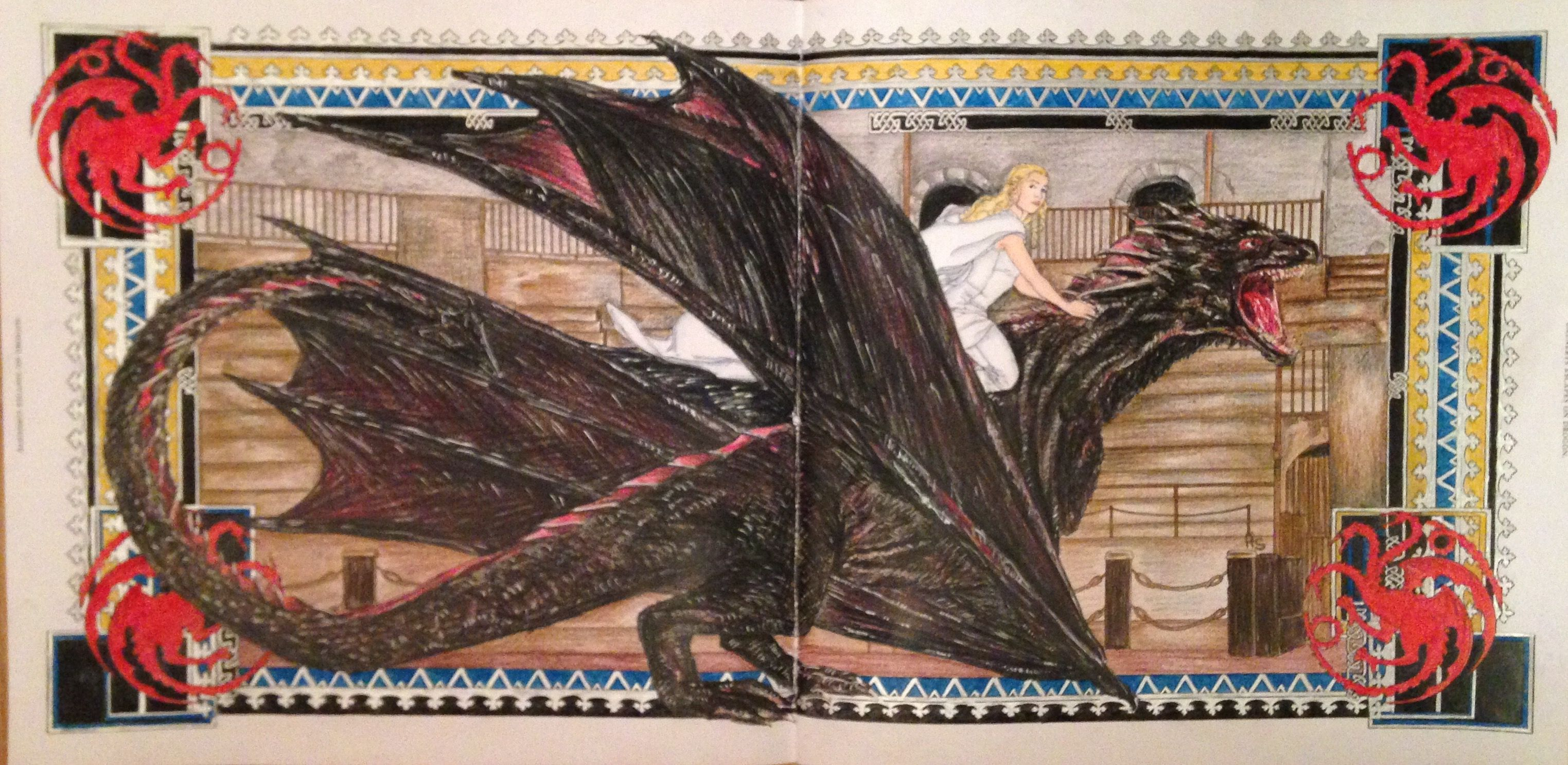 Daenerys Escapes On Drogon From HBO Game Of Thrones Colouring Book In Prismacolor Premier Pencils Posca White Paint Pen And Gold Gel