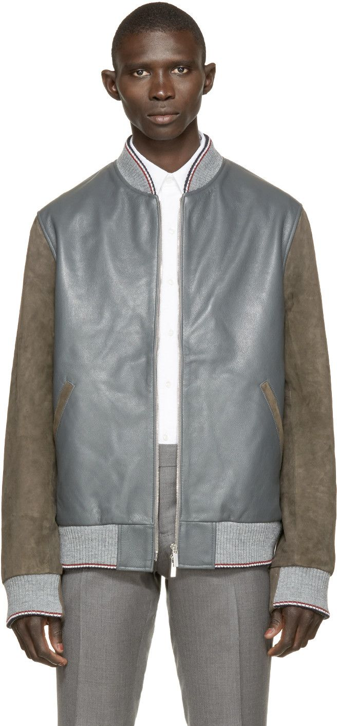 Grey & Brown Leather Bomber (With images) Leather jacket