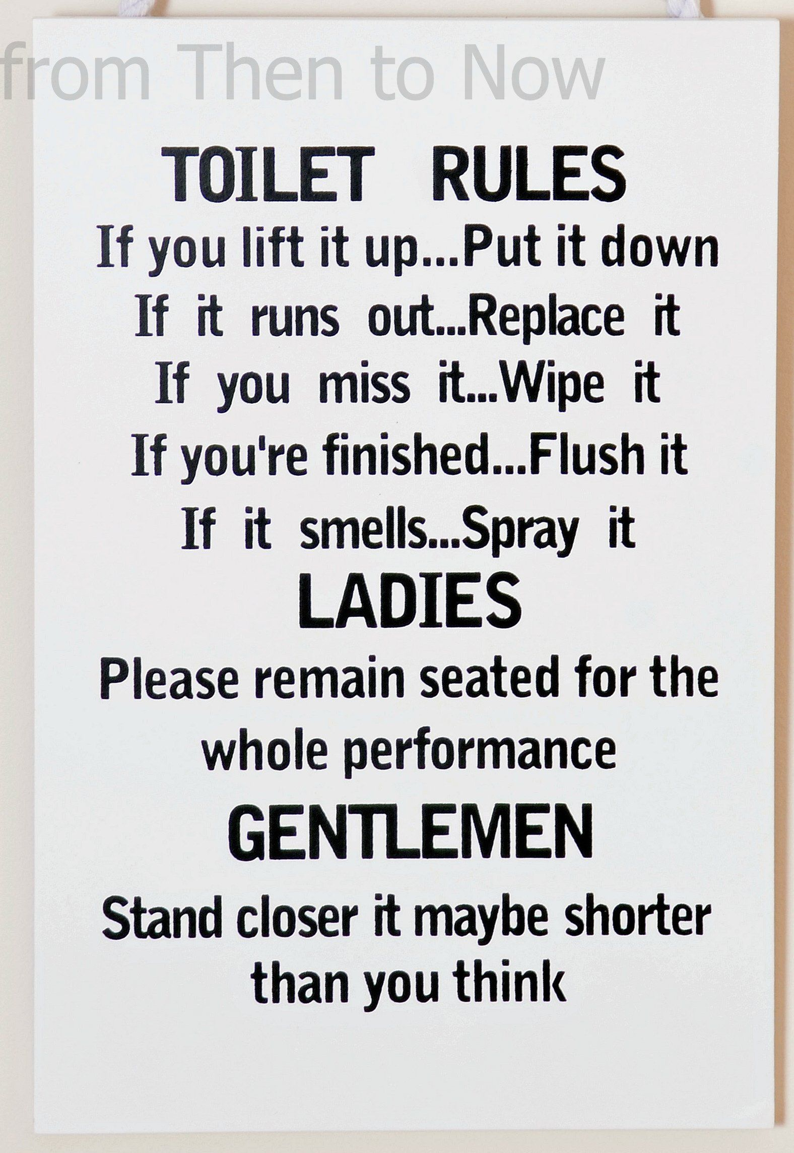 Wooden Funny Plaque Sign Toilet Rules Bathroom Toilet Rules