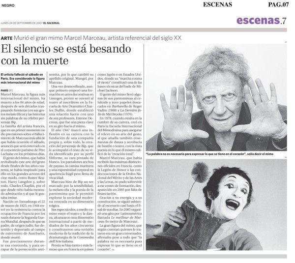 Muerte del mimo francés Marcel Marceau. Publicado el 24 de septiembre de 2007.