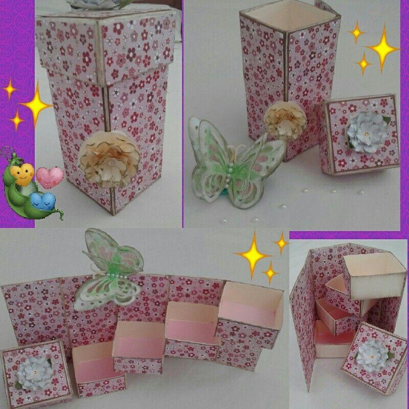 Caixa porta bijouterias ou porta guloseimas + aplique de borboleta em 3D (opcional). Todos feitos em scrapbook. By Ateliê baby sementinha.