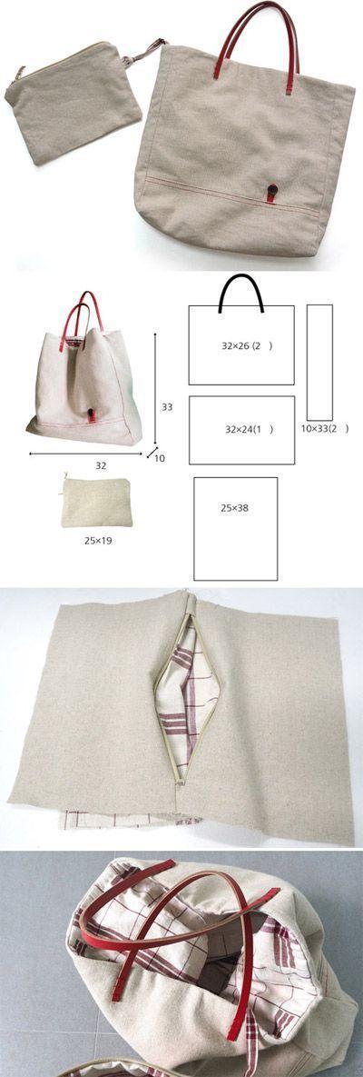 DIY Lined Tote Bag #bagsewingpatterns