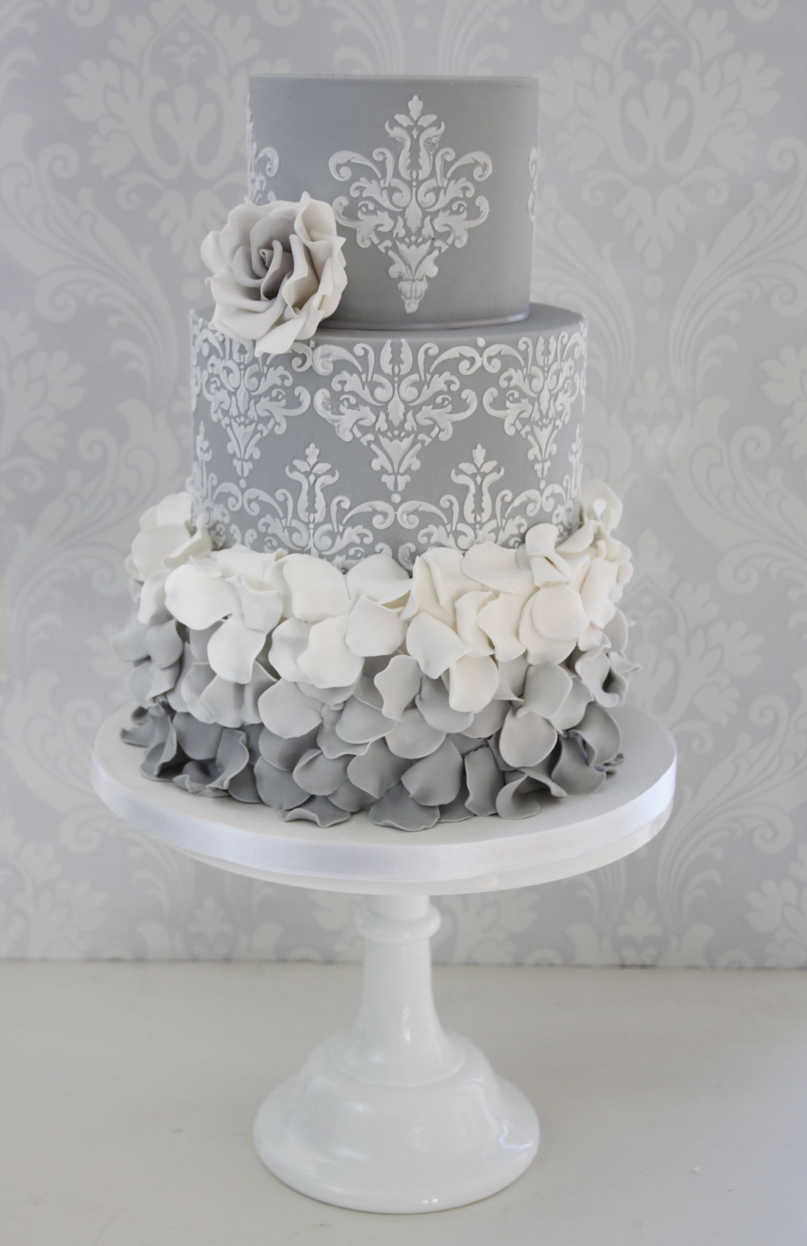 Ombre ruffles design by the enchanting cake company weddingcake