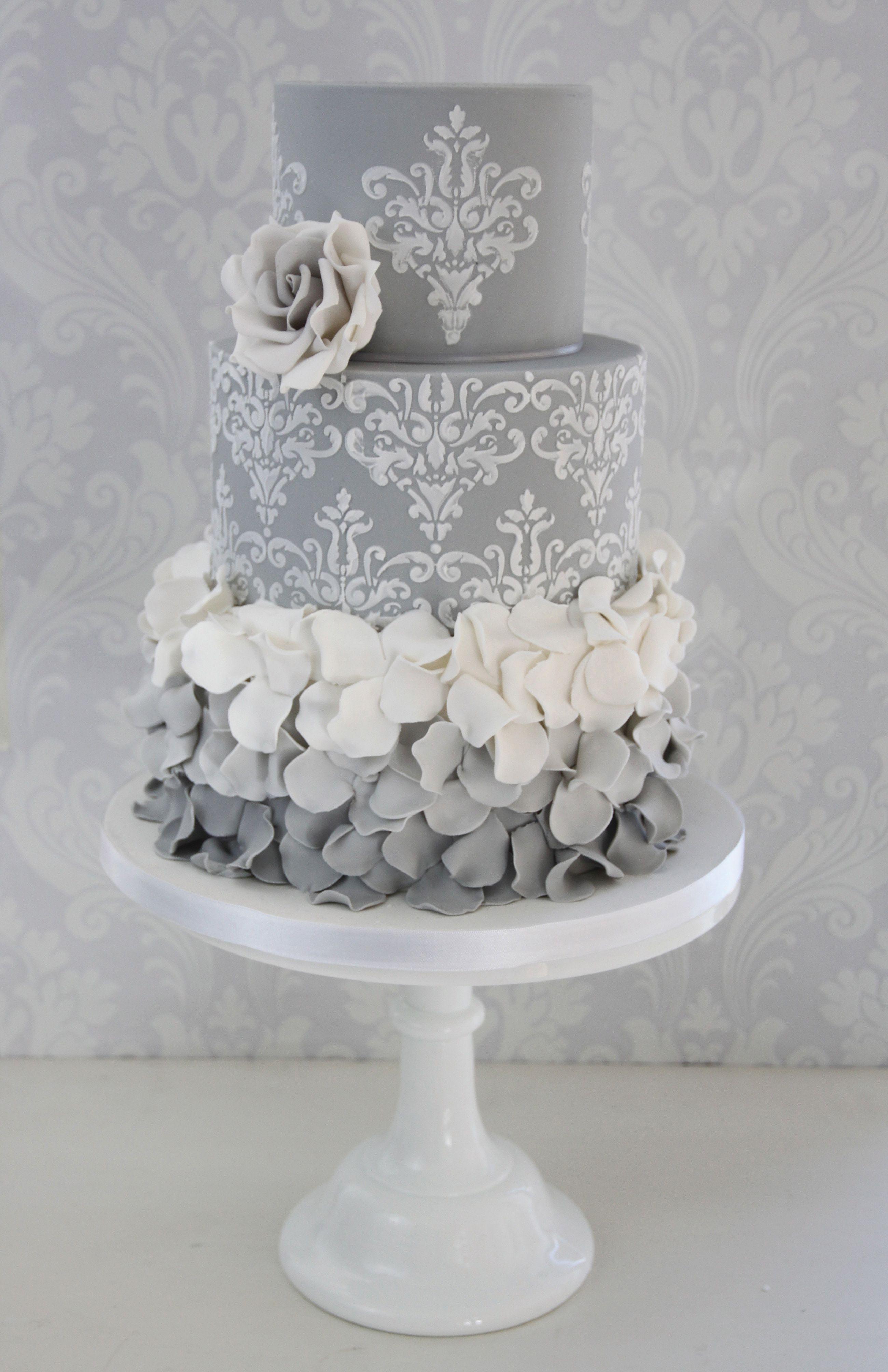 Ombre ruffles design by the enchanting cake company weddingcake