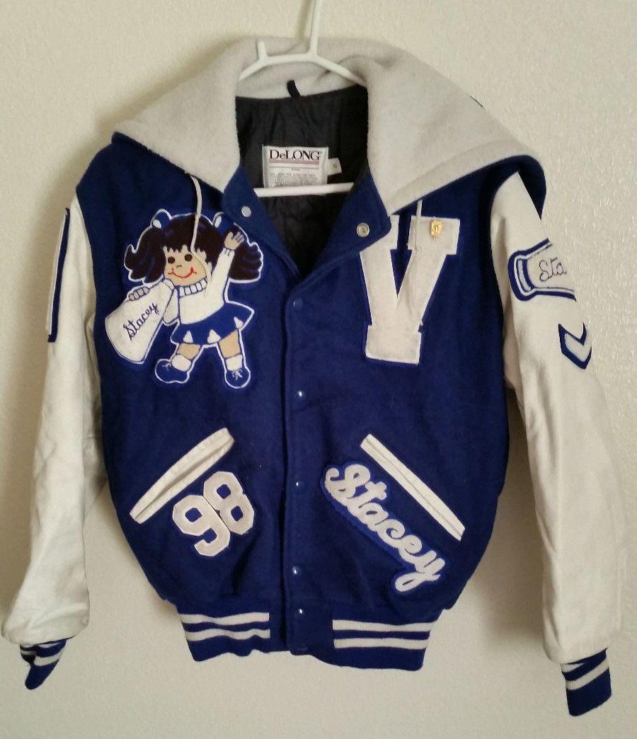 1989 Vintage High School Cheerleader Letterman Varsity Jacket Sz S Ebay Cheer Jackets Varsity Jacket Senior Jackets