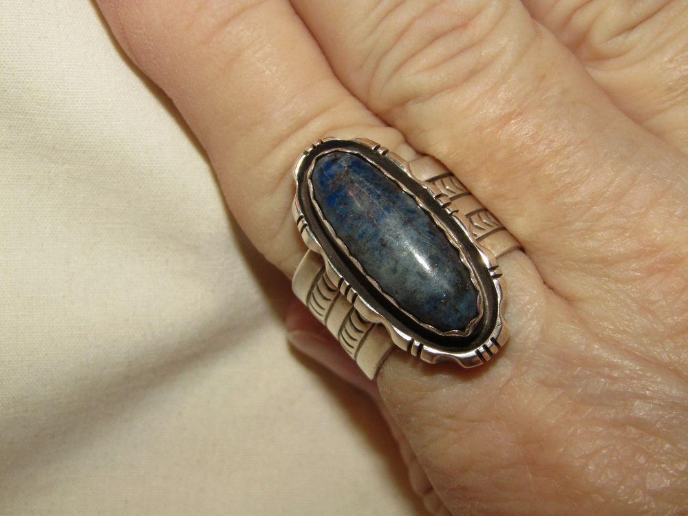 Vintage Signed NAVAJO Denim Lapis Stamped 925 Sterling Silver Ring (10)  #RMJ