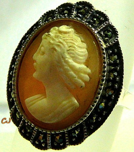 Vintage Carved Agate and Shell Cameo by SylCameoJewelsStore, $39.99 - Vintage Carved Agate and Shell Cameo Sterling Silver .925 Ring - Marcasite Facet Stones - Hallmarked - 7.8 Grams - Very Good Condition.