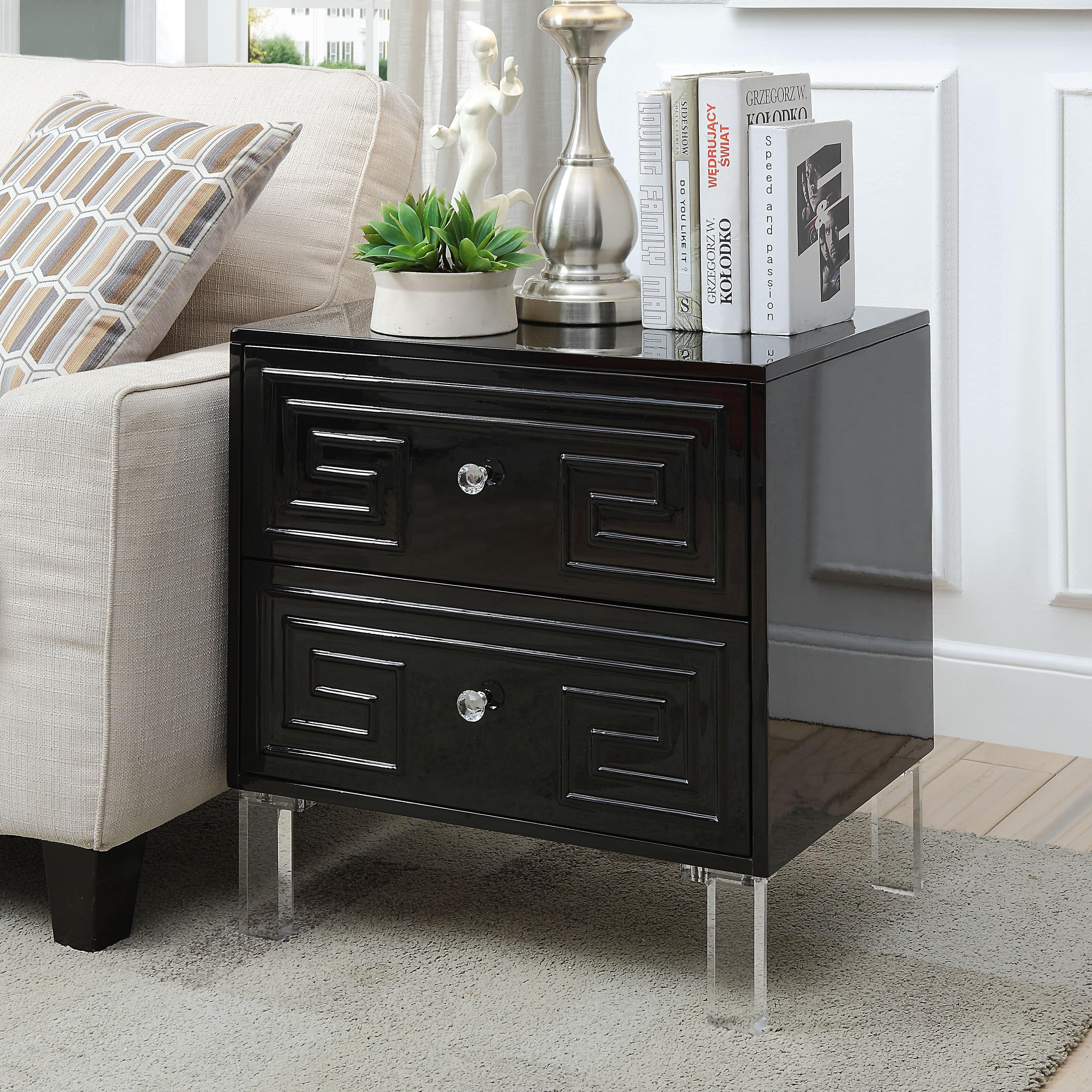 Furniture Of America Lelani Wood And Acrylic Contemporary 2 Drawer Side Table