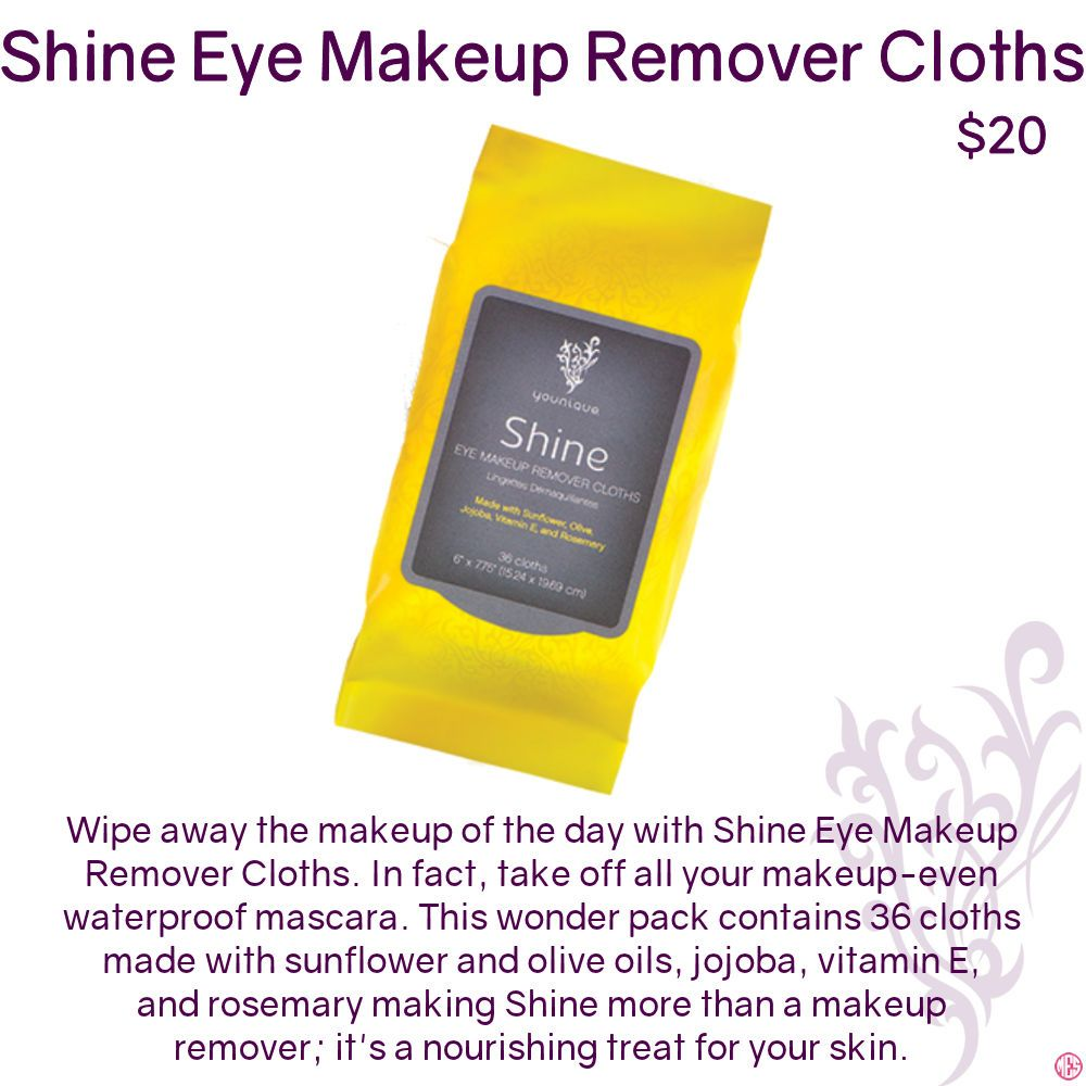 Shine Eye Makeup Remover Cloths by Younique. Click to