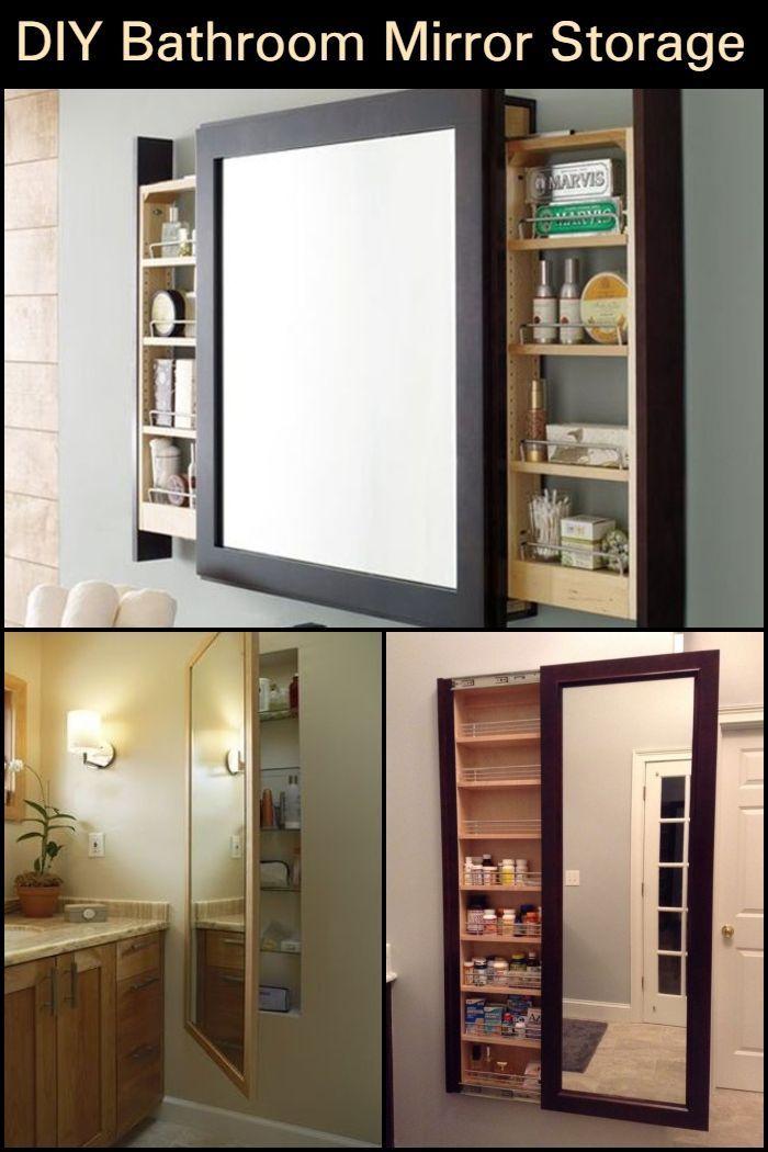 Mirror Storage Small Space Bathroom Diy Storage Ideas For Small Bedrooms Diy Bedroom Storage