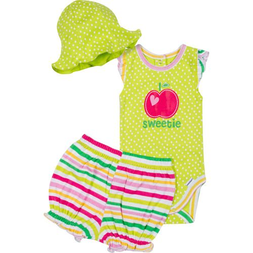 Walmart Baby Girl Clothes Gerber Newborn Girl 3 Piece Creeper Bloomers And Hat Set  Creepers