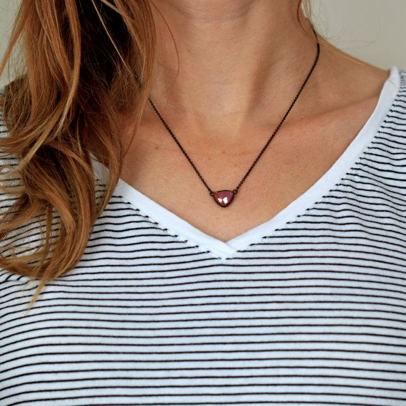 Peach Pink Sapphire Necklace in Oxidized Sterling by apostrophie, $125.00