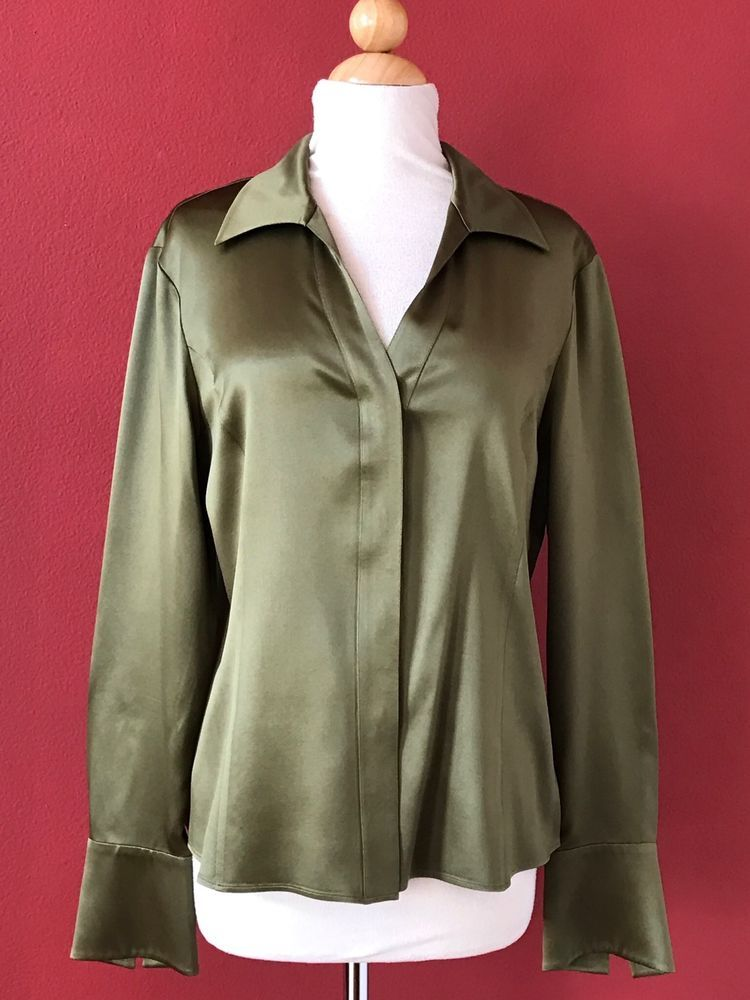 a9800f846096 LAFAYETTE 148 Olive Green Silk Button Front Top Career Wear To Work Size 10  #Lafayette148NewYork #ButtonDownShirt #Career