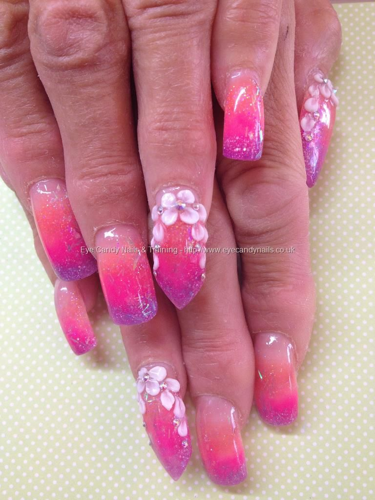 Sculpturedacrylicswithorangepinkandpurpleacrylicfadewith eye candy nails training sculptured acrylics with orange pink and purple acrylic fade with flower nail art and swarovski crystals by elaine moore on 2 prinsesfo Image collections