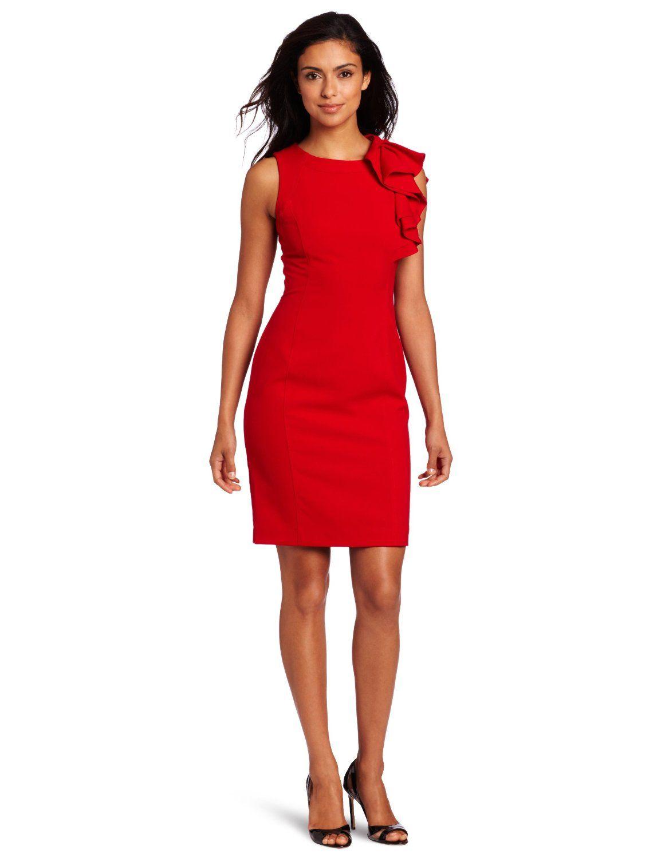 851ccd098a5 Amazon.com: Calvin Klein Women's Ruffle Dress: Clothing   A. Fashion ...