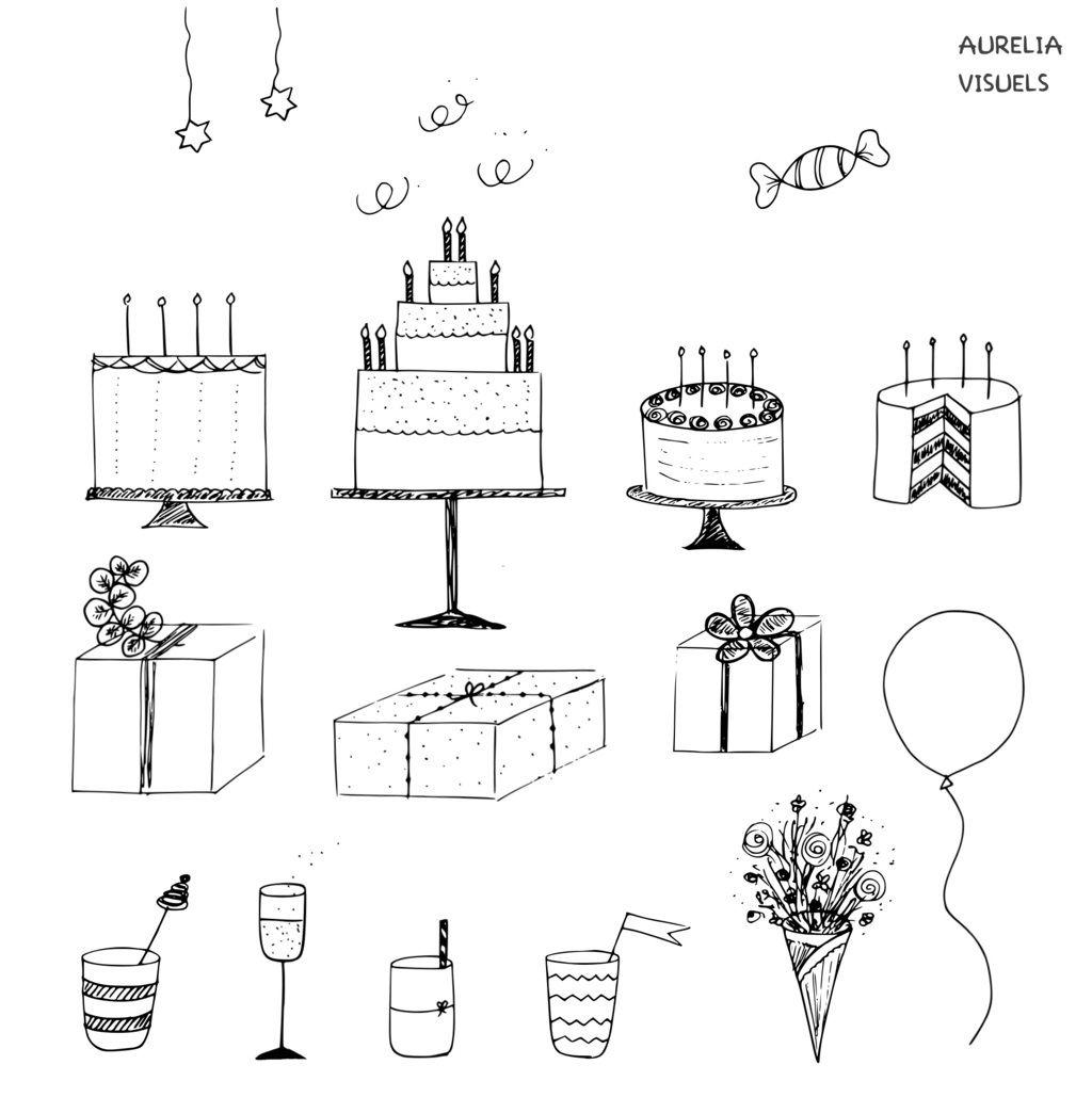 Coloriage Gateau Facile.Doodles Anniversaire Drawings Doodles Dessin