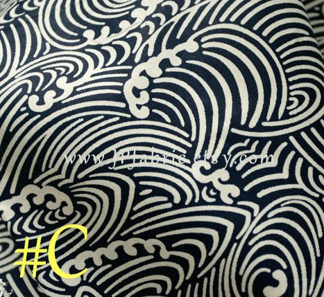 Anese Wave Fabric Pure Cotton Blue White Handcraft Tissu Onais Jp100031 C