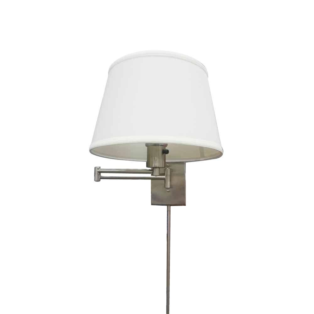 Hampton Bay 1 Light Brushed Nickel Swing Arm Sconce With White