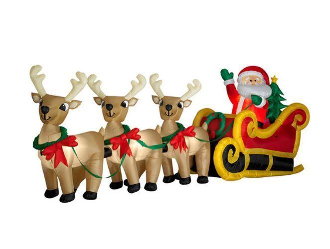 Lighted Airblown Santa Sleigh Reindeer Christmas Inflatable Lawn Yard Decoration Christmas Yard Decorations Reindeer Outdoor Holiday Decor