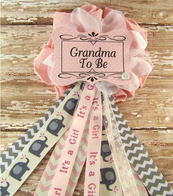 Baby Shower Gifts Grandmother ~ Pink elephant grandma to be corsage baby by