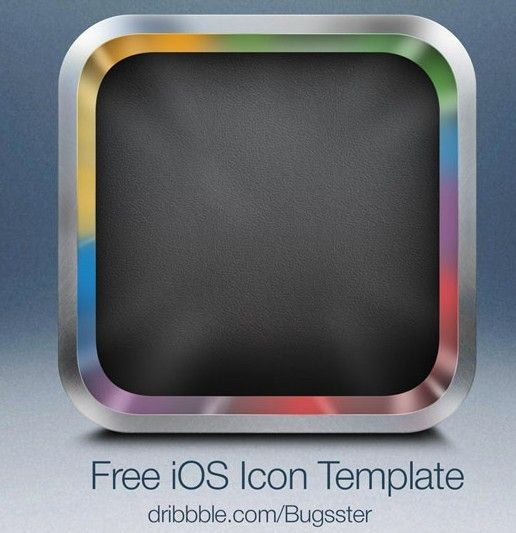 Free Sleek Blank iOS App Icon with Metal Border PSD Template