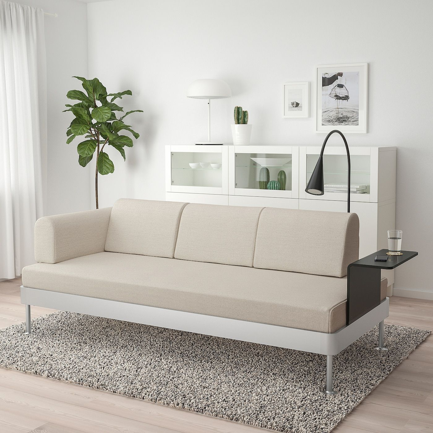 Ikea Delaktig Sofa With Side Table And Lamp Gunnared Beige Sofa Ikea Cushions On Sofa