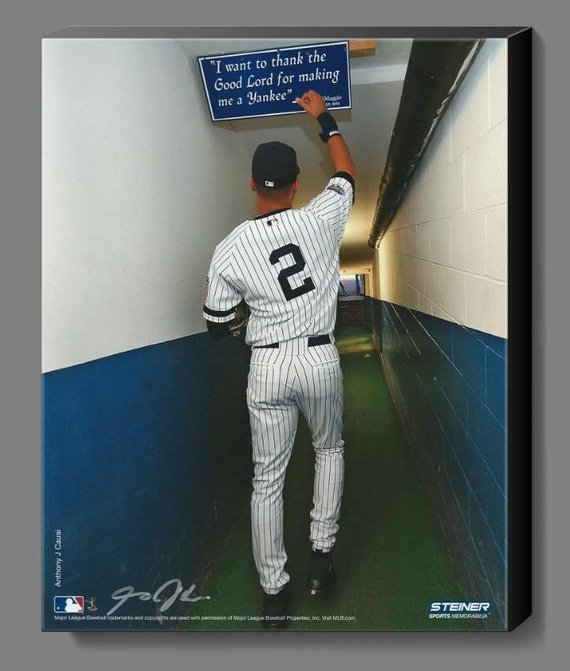 73e8c4a43f1 Hot deal- New York Yankees Derek Jeter Tunnel Shot. Touching DiMaggio  Quoted Sign. 11 X 14