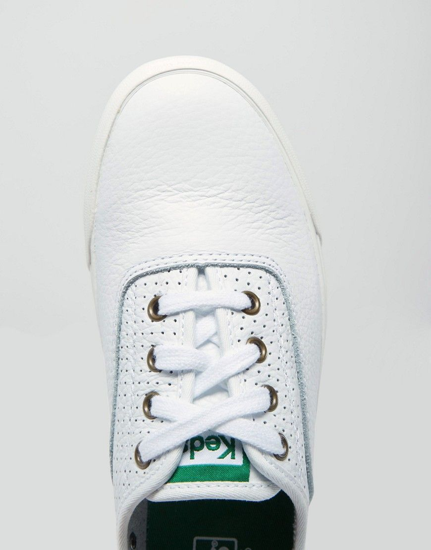 63262abf8ab3a Image 4 of Keds Triumph Sport White Perforated Leather Plimsoll Trainers