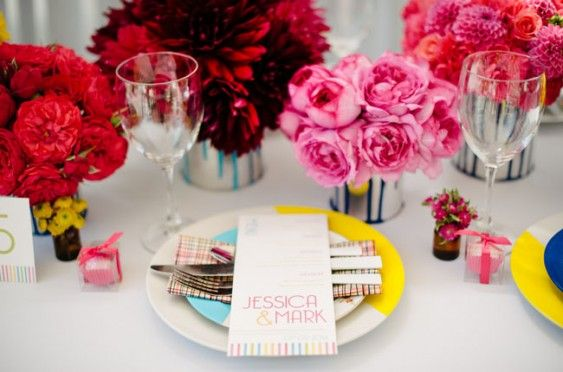 vibrant place setting. Photo by Christa-Taylor Photography