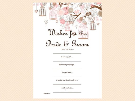 wishes for the bride and groom card wishes for by magicalprintable