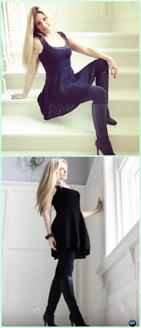 Crochet Little Black Dress Free Pattern [Video]- Crochet Women Dress Free Patterns