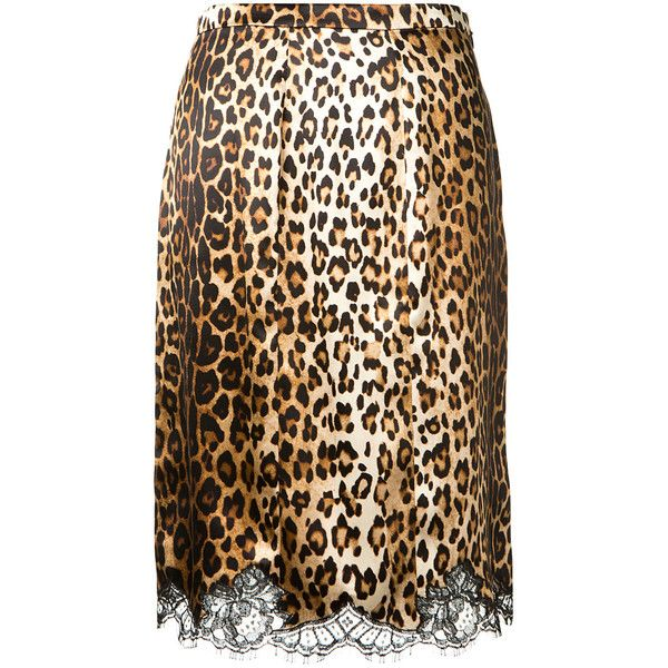 Givenchy Leopard Printed Silk Skirt ($1,265) ❤ liked on Polyvore featuring skirts, calf length skirts, straight skirts, anthony vaccarello, silk midi skirt and leopard skirt