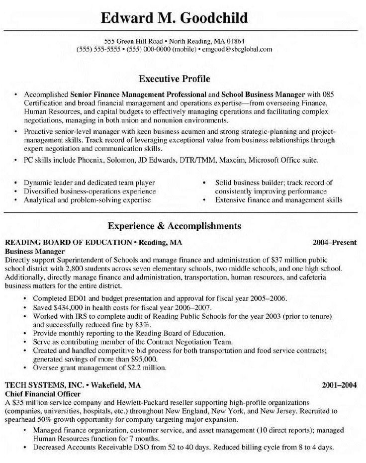 Resume Examples Business Management , ResumeExamples