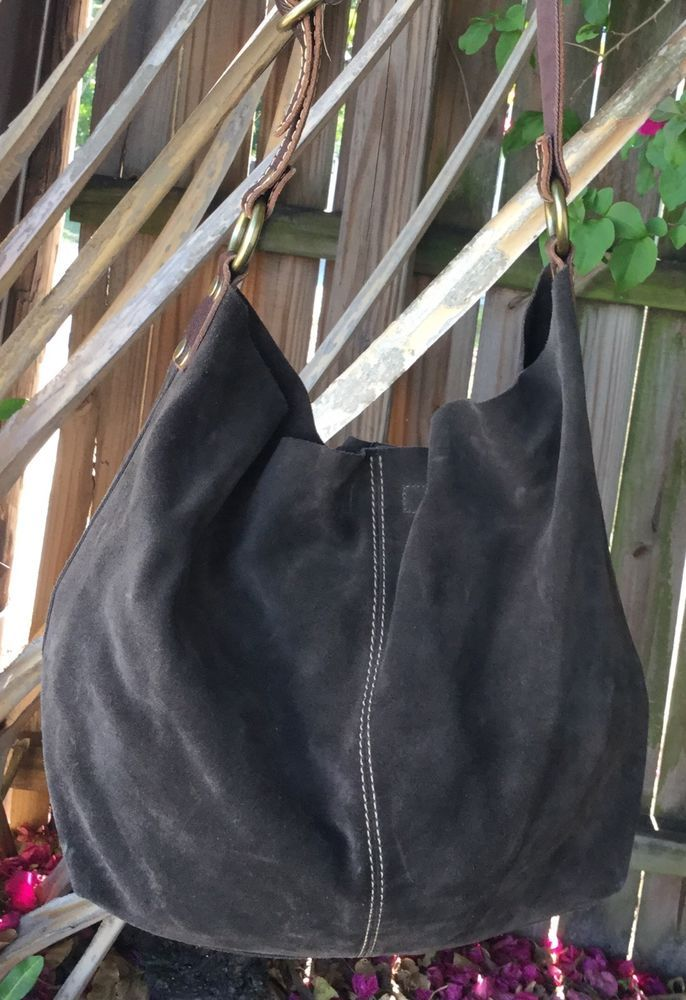21bfdbcc1504 Lucky Brand Large Slouch Hobo Bag Purse Dark Brown Suede Tan Leather  W Pouch VGC in Clothing