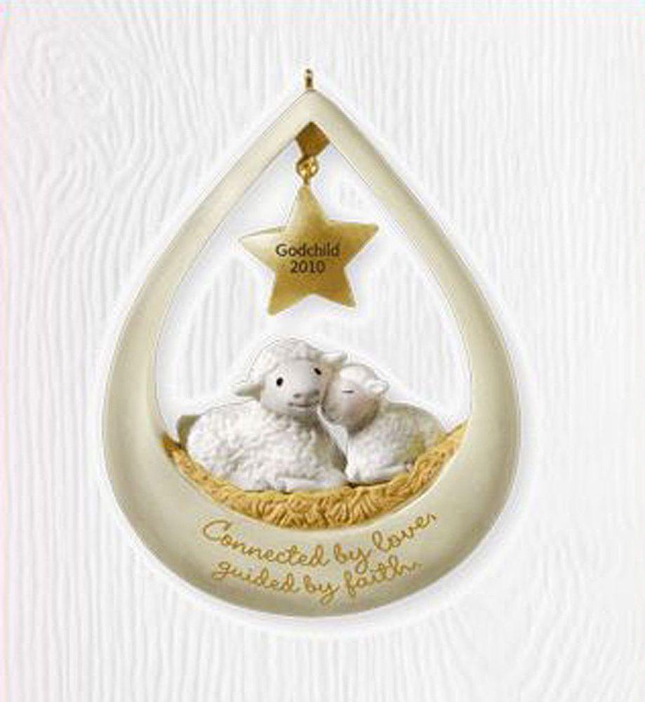 Godchild 2010 Hallmark Ornament Family Boy Girl Star Lambs God