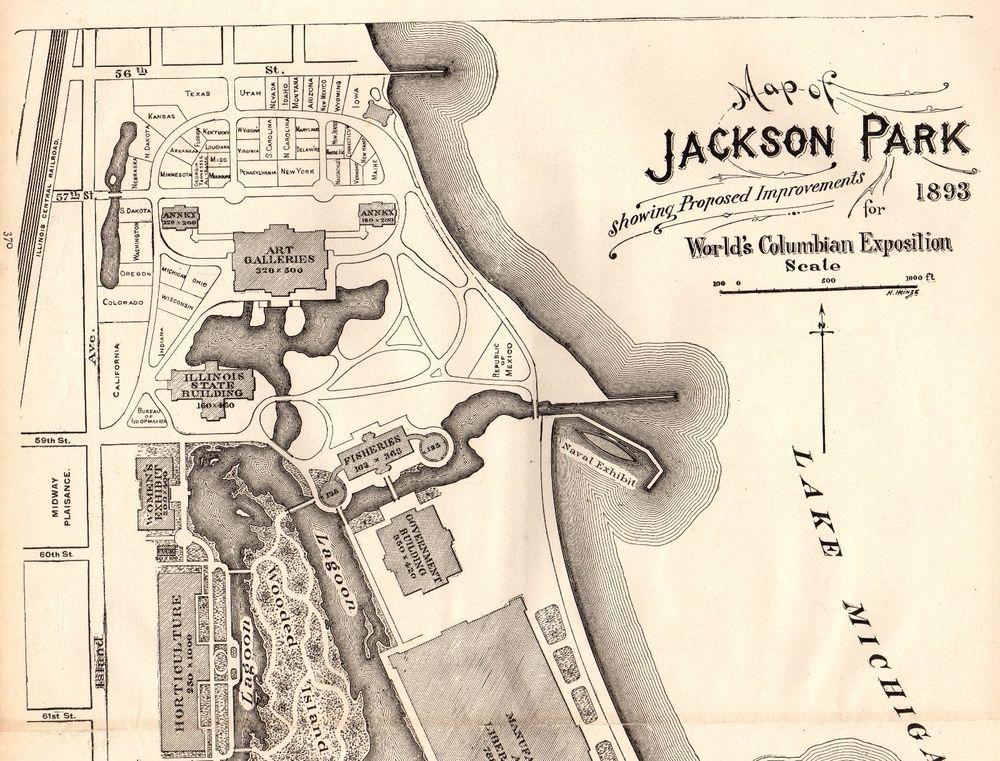 1892 Antique JACKSON PARK Map Chicago Worlds Fair Chicago Illinois