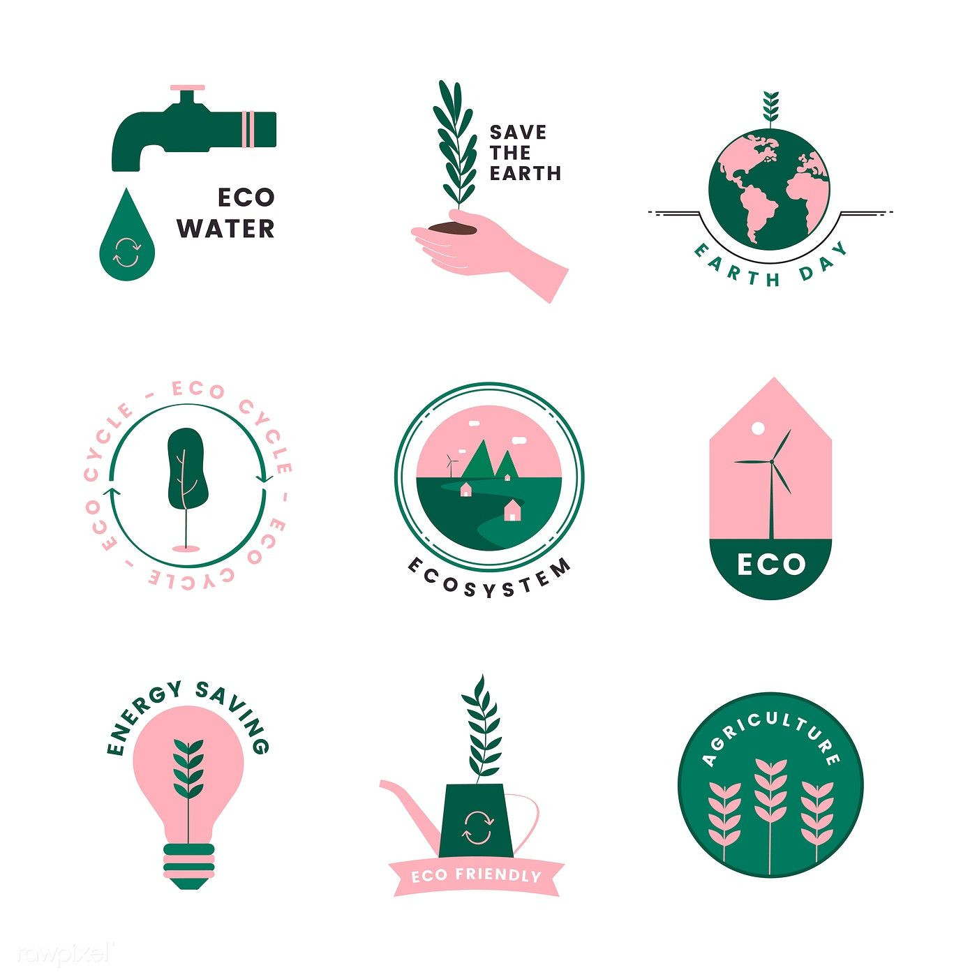 Download premium vector of Set of organic and go green icons 473087