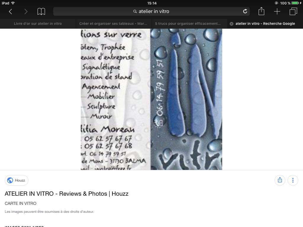Carte Visite Atelier IN VITRO TOULOUSE Invitrofr