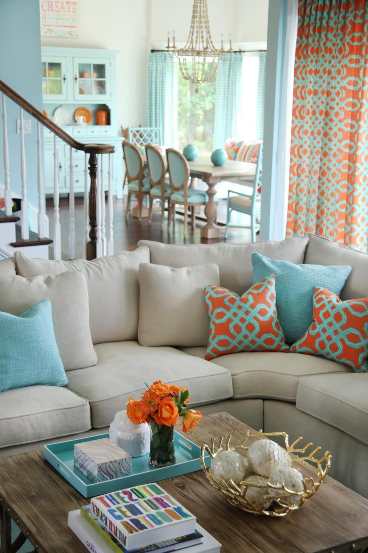 Neutral Sectional With Aqua Tangerine Throw Pillows Beach House Interior Design Home Living Room House Of Turquoise Aqua living room decorating ideas