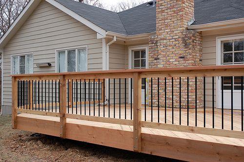 Aluminum Baluster Flat Rail Design Deck Railing Design Cedar Deck Building A Deck