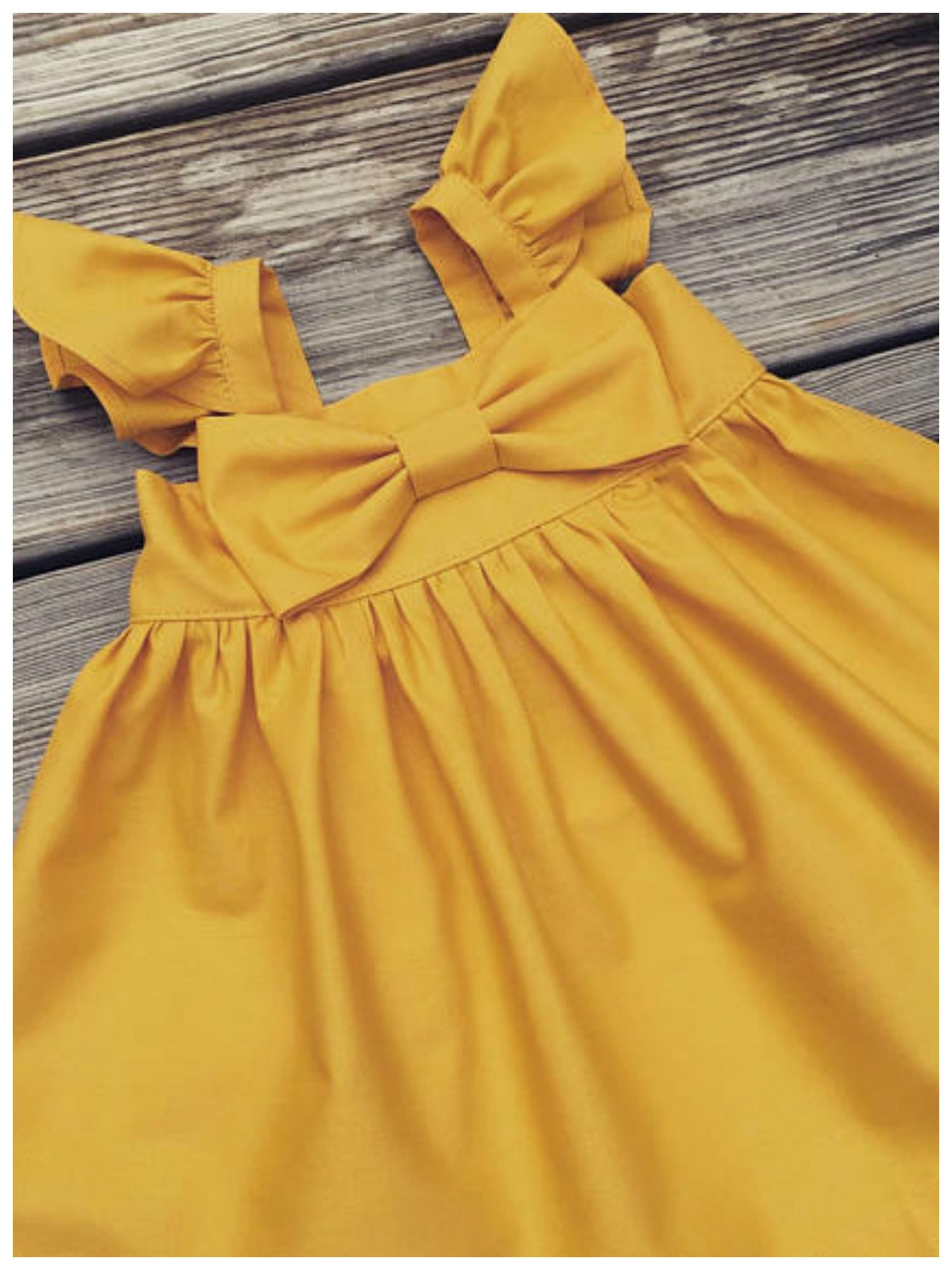 Fluffy sleeve mustard Easter dress, big bow dress, toddler Easter