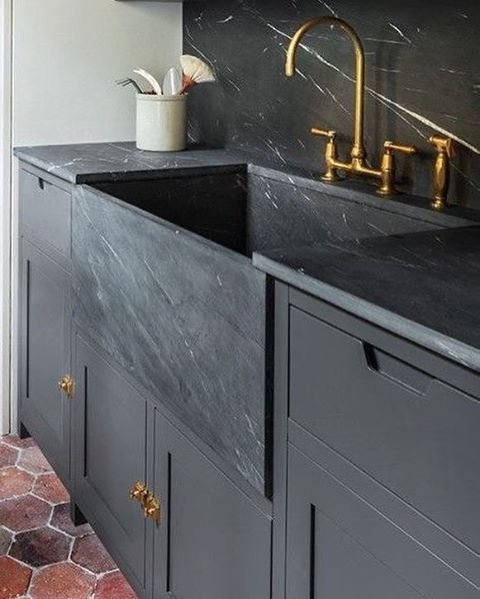 Kitchen Faucets For Granite Countertops: Custom Sink That Matches Granite Counter Tops/ Stone