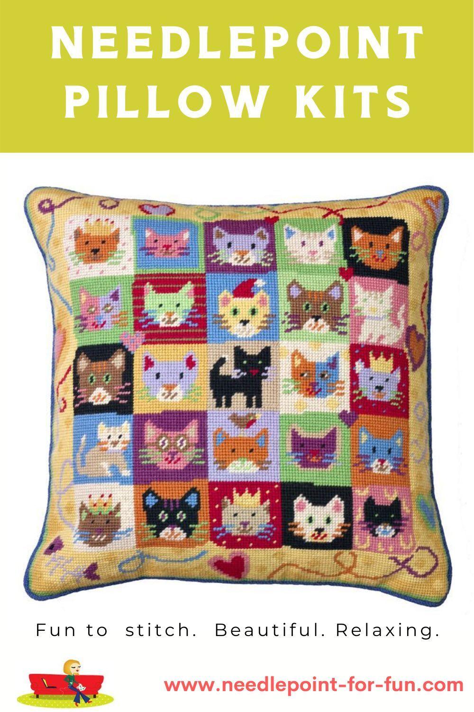 Kitten Caboodle Needlepoint Kit In 2020 Needlepoint Kits Tapestry Kits Needlepoint Pillows