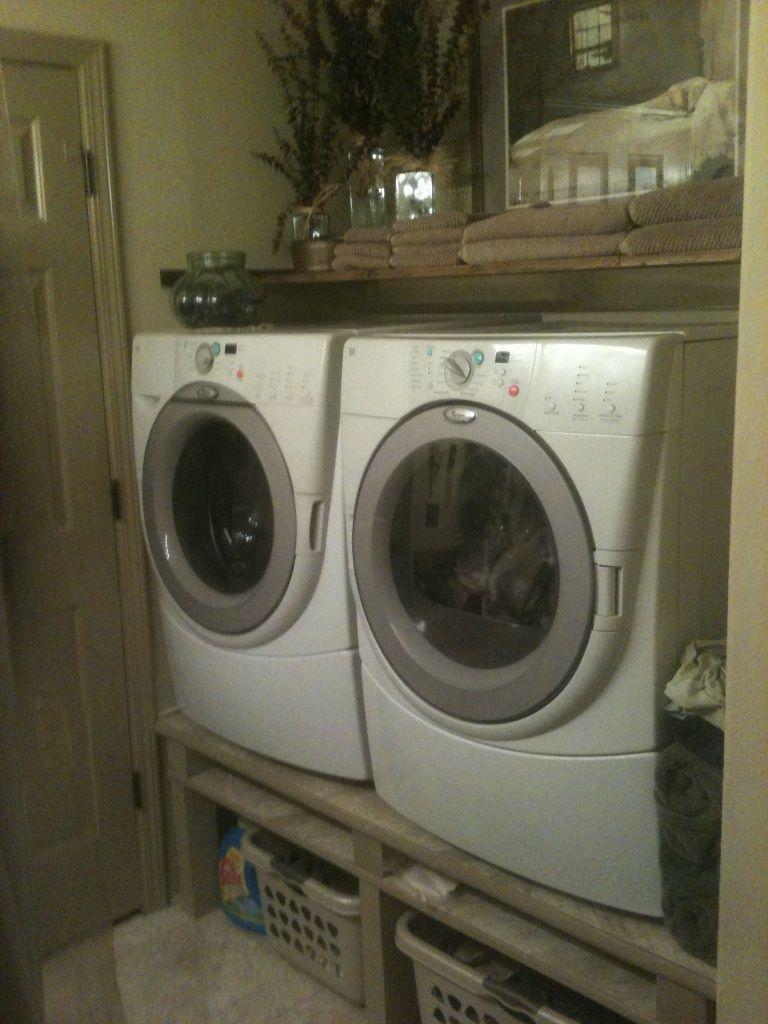 My pinterest inspired washer/dryer shelf looks amazing!