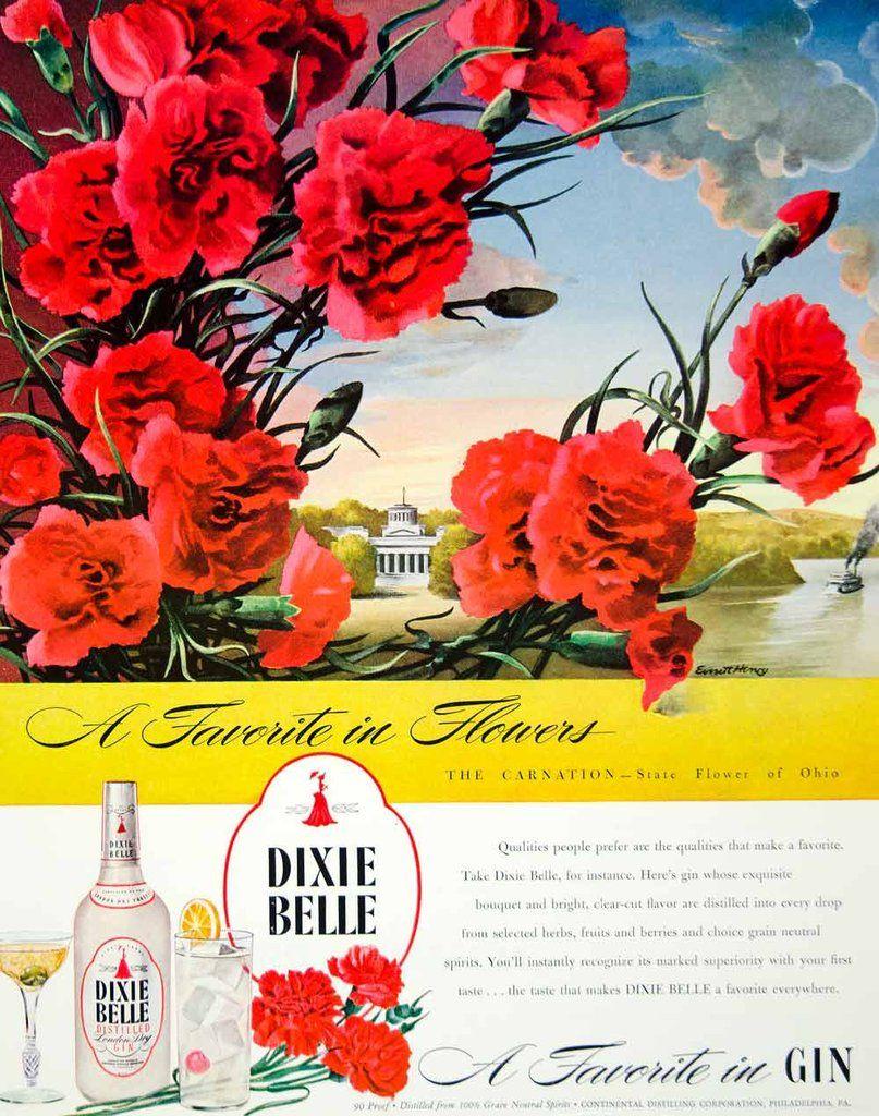 1946 Ad Dixie Bell Distilled Gin London Dry Flowers Carnation Ohio Everett Ftm1 Distillation London Dry Dried Flowers