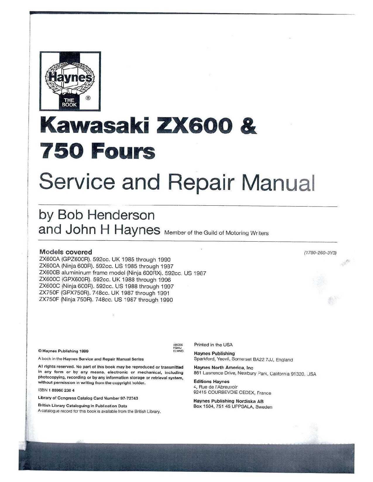 Kawasaki Zx 600 Gpz Gpx 750 Fours Service And Repair Manual Pdf Download Service Manual Repair Manual Pdf Download Repair Manuals Manual Repair