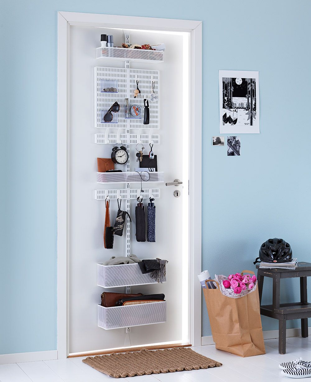 Elfa Door And Wall Rack Used In A Hallway Organization