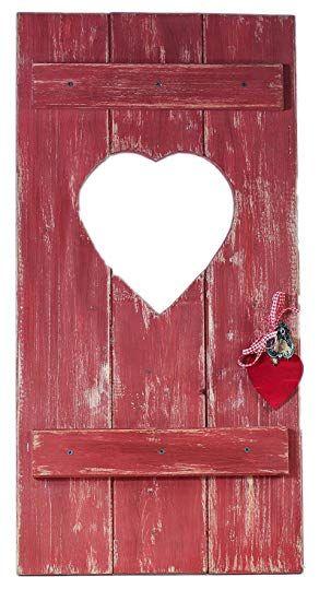 Fensterladen Herz Holz Dekoration ca 35x70cm Geldgeschenk Rot - wohnzimmer braun rot