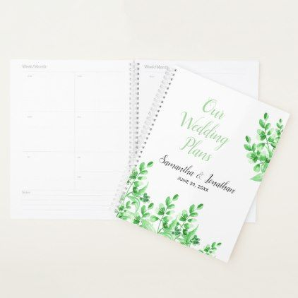 Watercolor Green Foliage  Wedding Plans Planner  Wedding