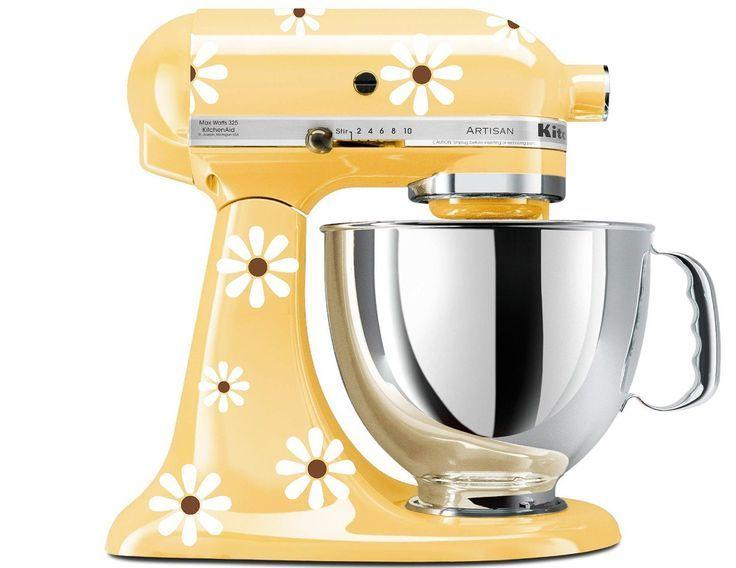 Yellow Kitchen Aid Stan Mixer With Daisy Decals Super Cute Have The Yellow Stan Mixer N Kitchen Aid Mixer Decal Kitchen Aid Kitchenaid Artisan Stand Mixer